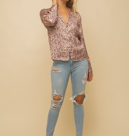 Tailored Satin leopard blouse