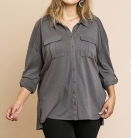 Button front top with raw seams