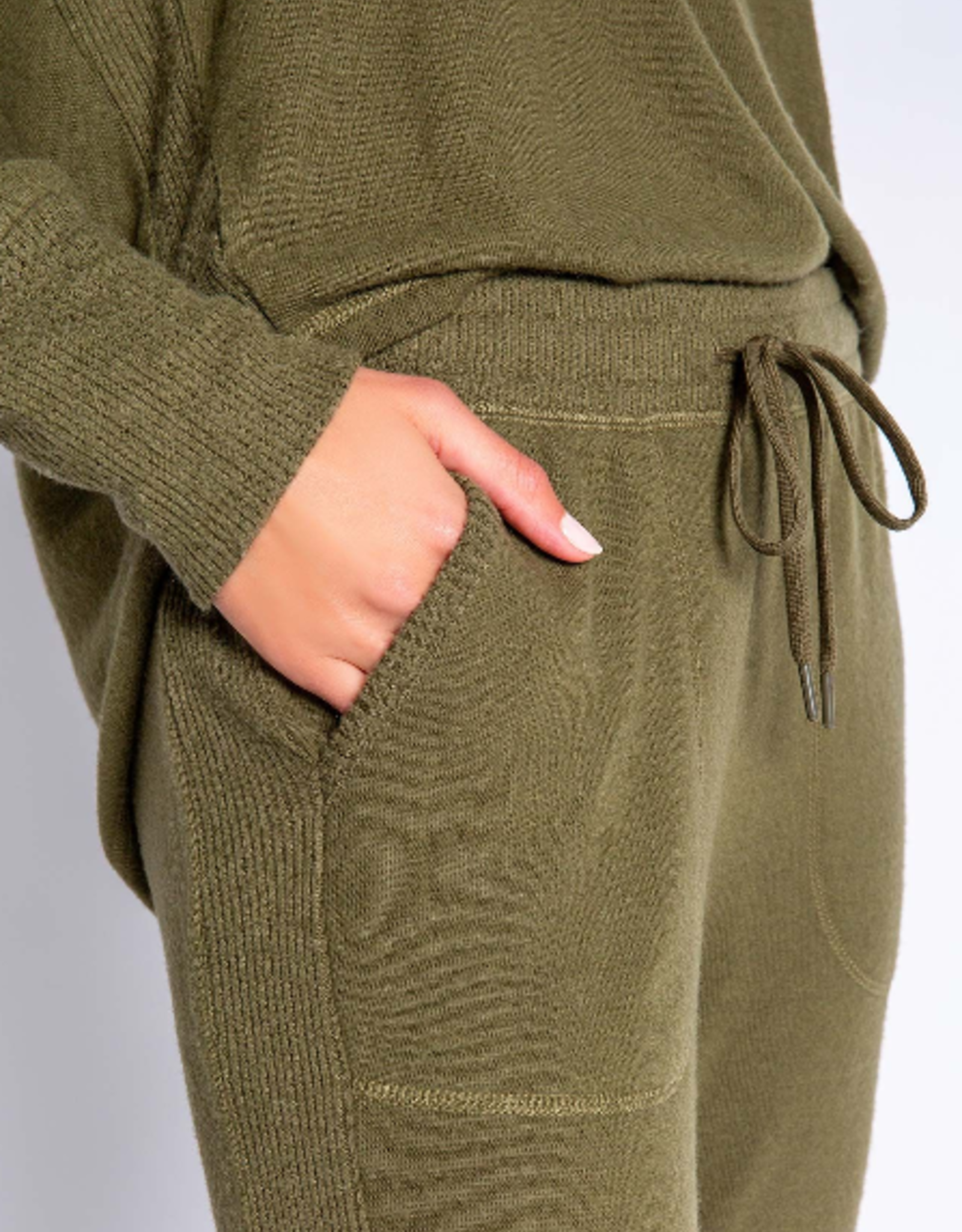 PJ Salvage Olive peachy banded pant