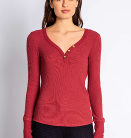 PJ Salvage Peachy ribbed henley- brick red