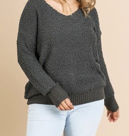 Soft knit hem sweater with ribbed hem