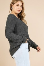 Soft knit hem sweater with ribbed hem