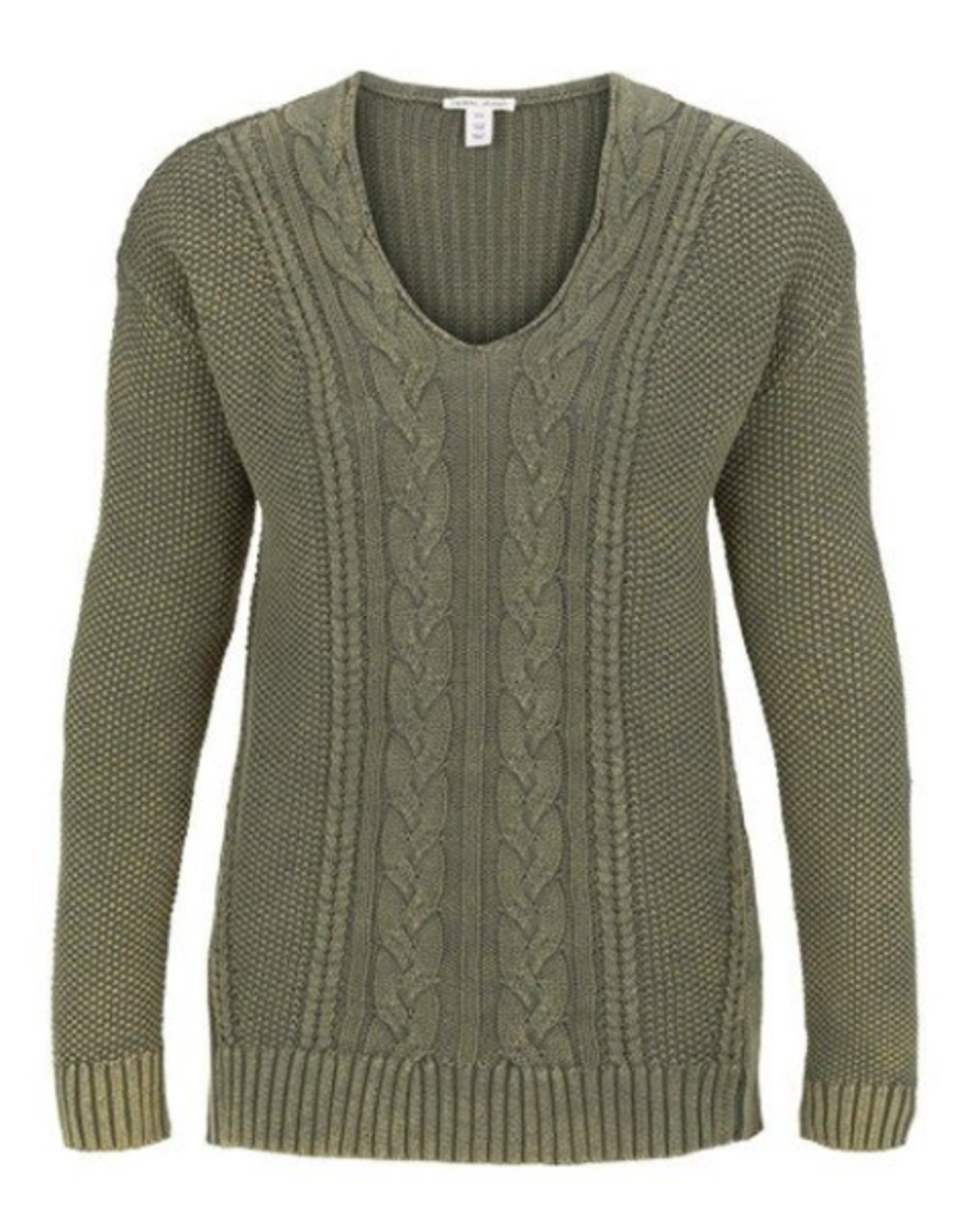 V-neck cable sweater-Green