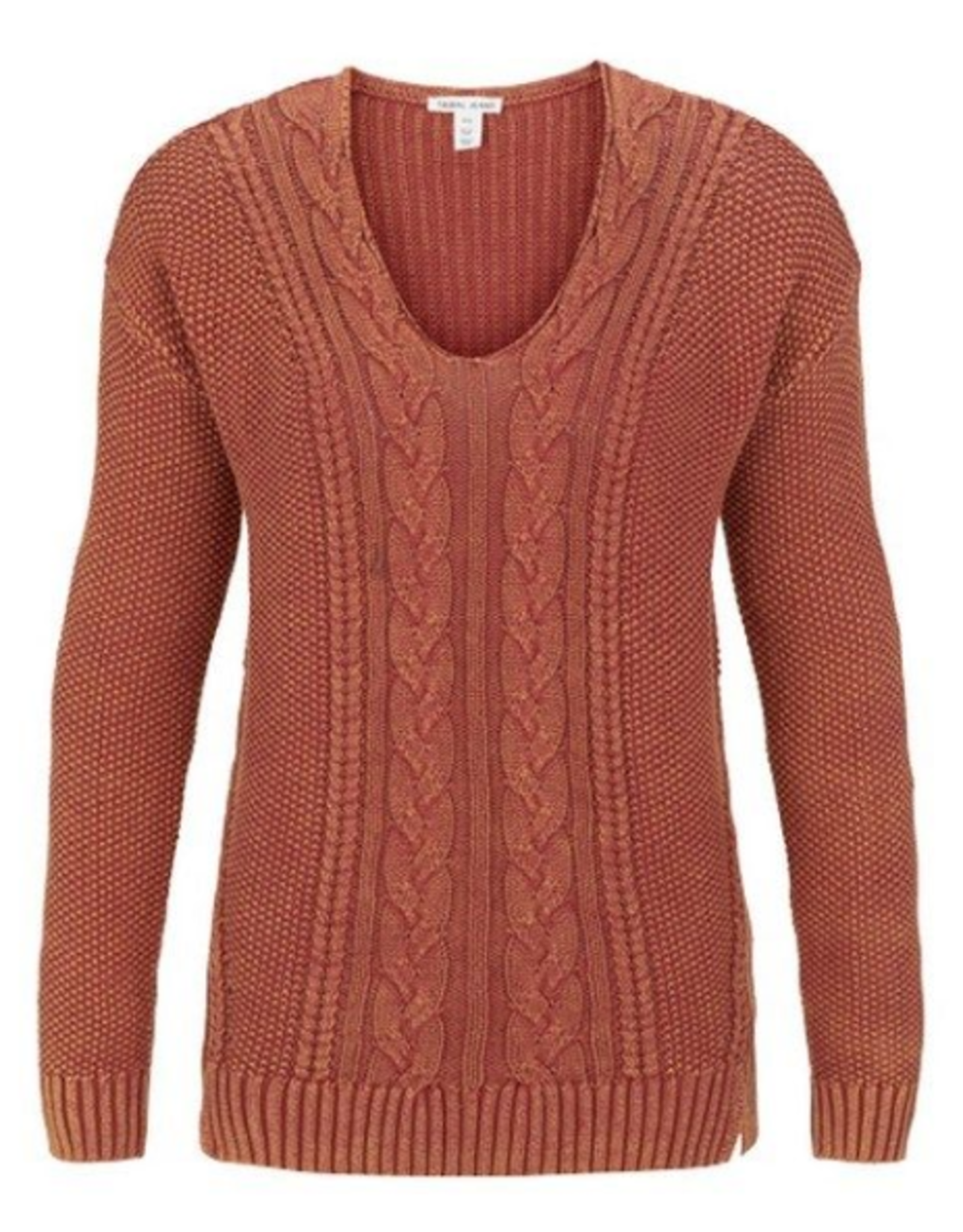 V-neck cable sweater-Maple