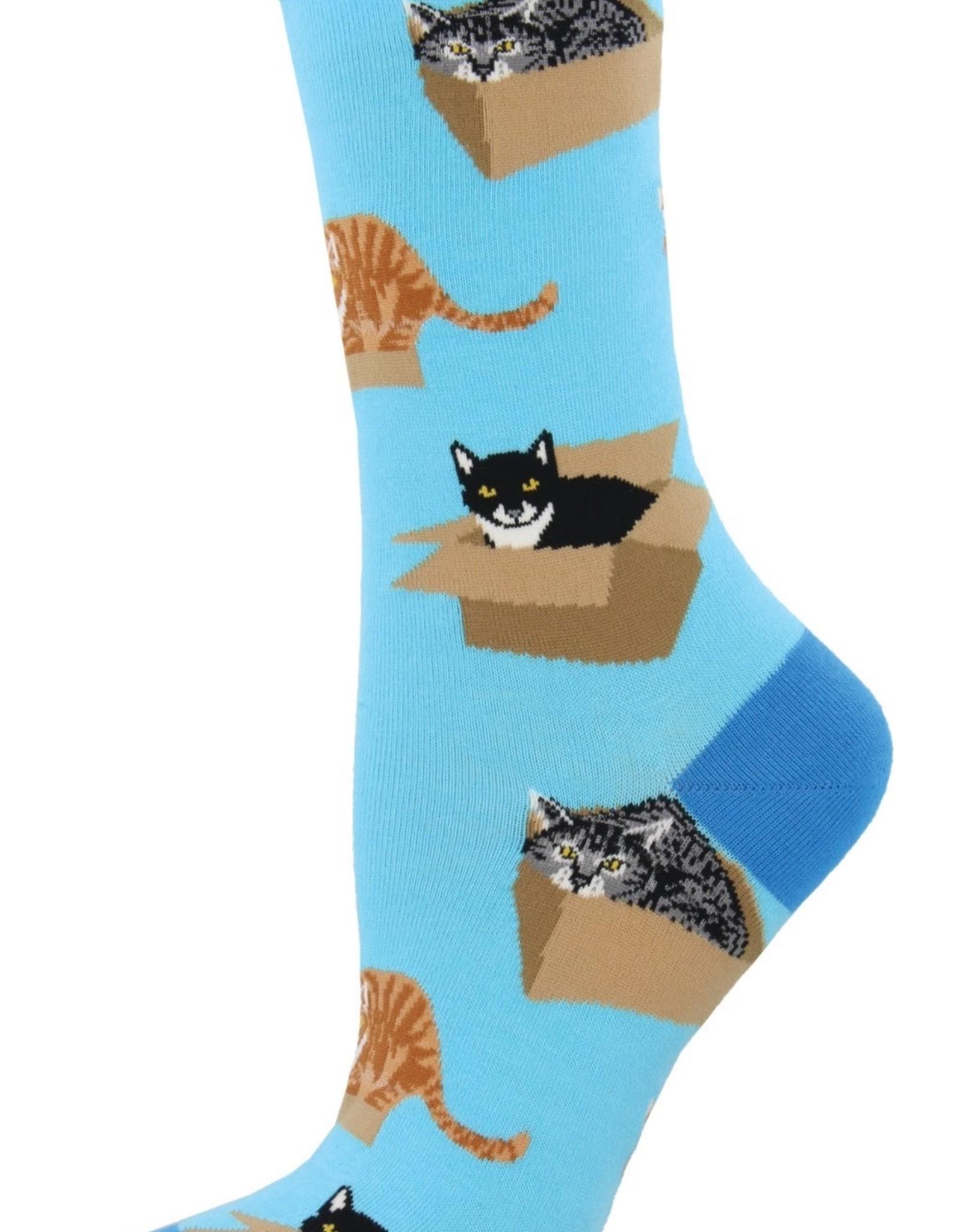 Cat in a Box azure socks