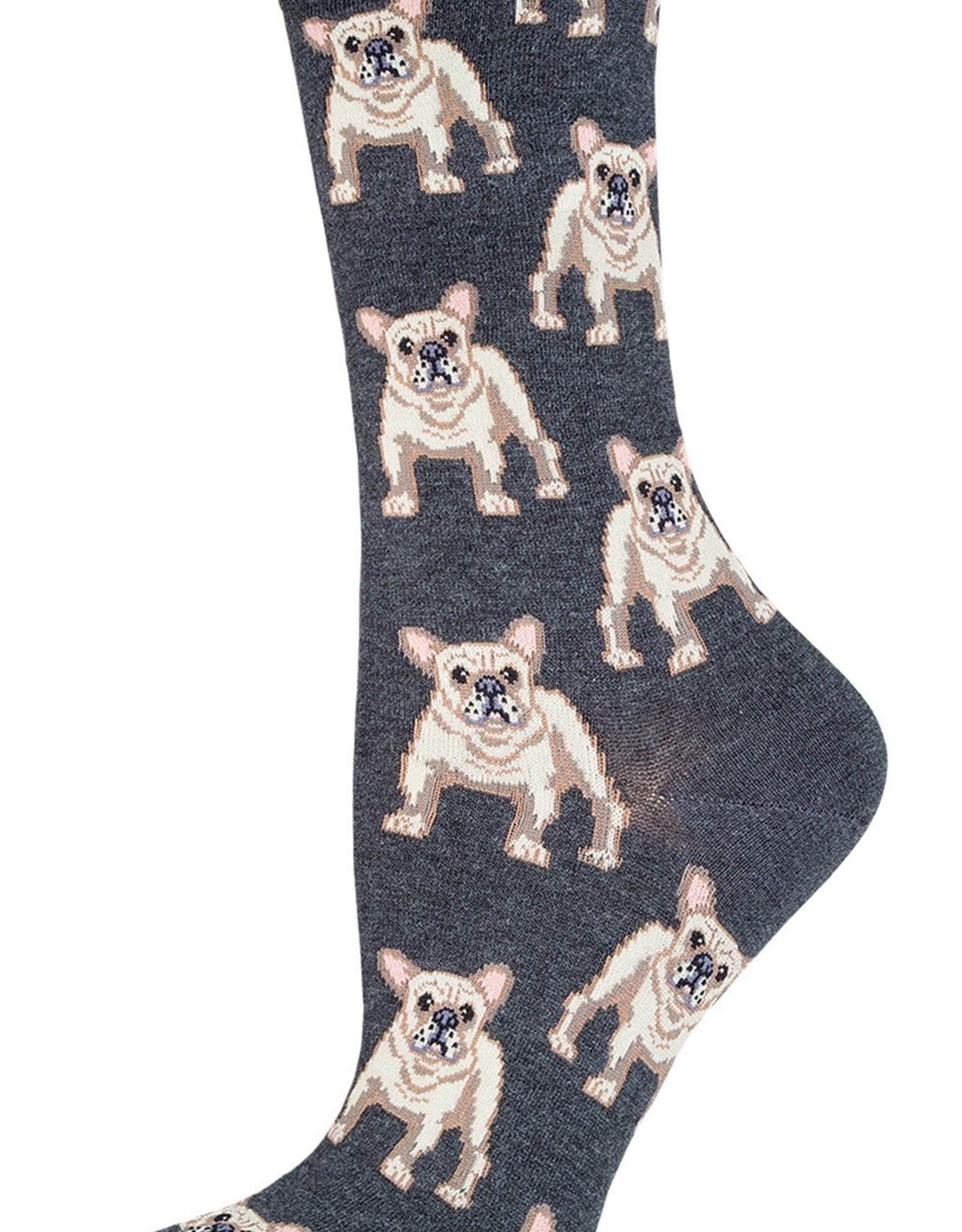 Frenchie charcoal heather socks
