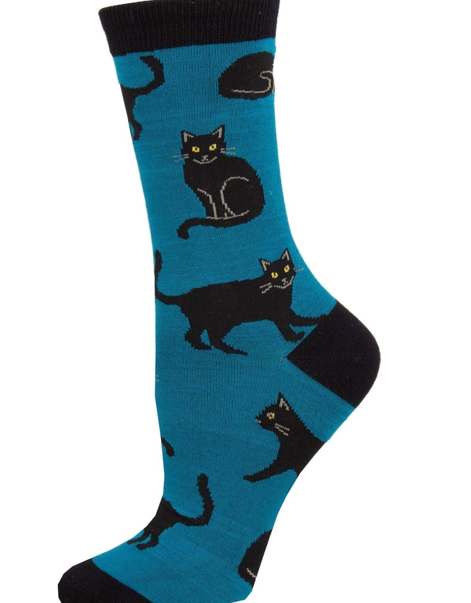 Black Cat blue socks