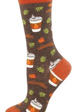 Sock Smith Pumpkin Spice Your Life socks- brown