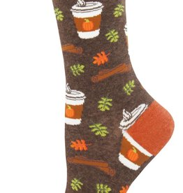 Sock Smith Pumpkin Spice Your Life socks- brown