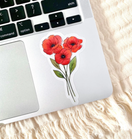 red poppies waterproof sticker