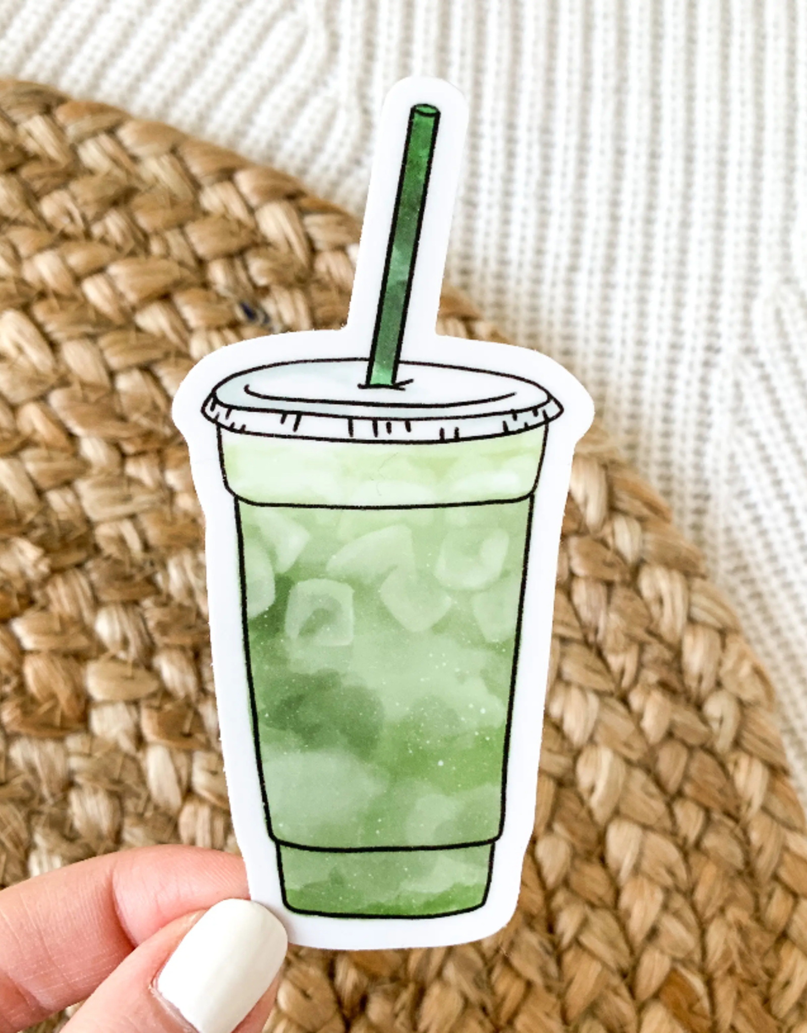 Matcha cup waterproof sticker
