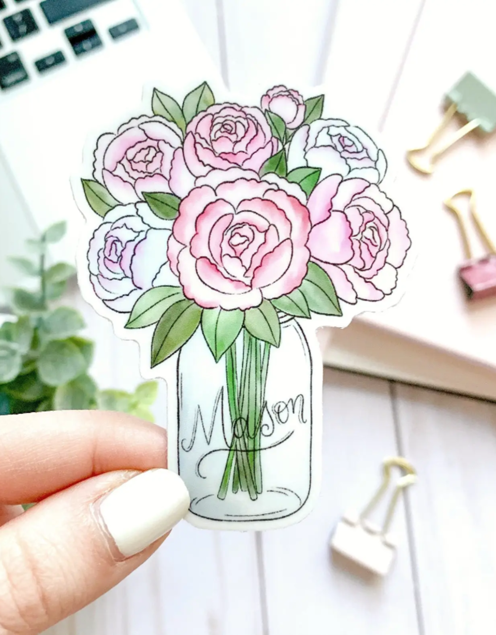 Mason Jar Peonies waterproof sticker