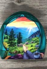 sticker art Tent and Mountains Sticker