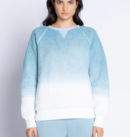 PJ Salvage Fuzzy Ombre Top-  Ice Blue