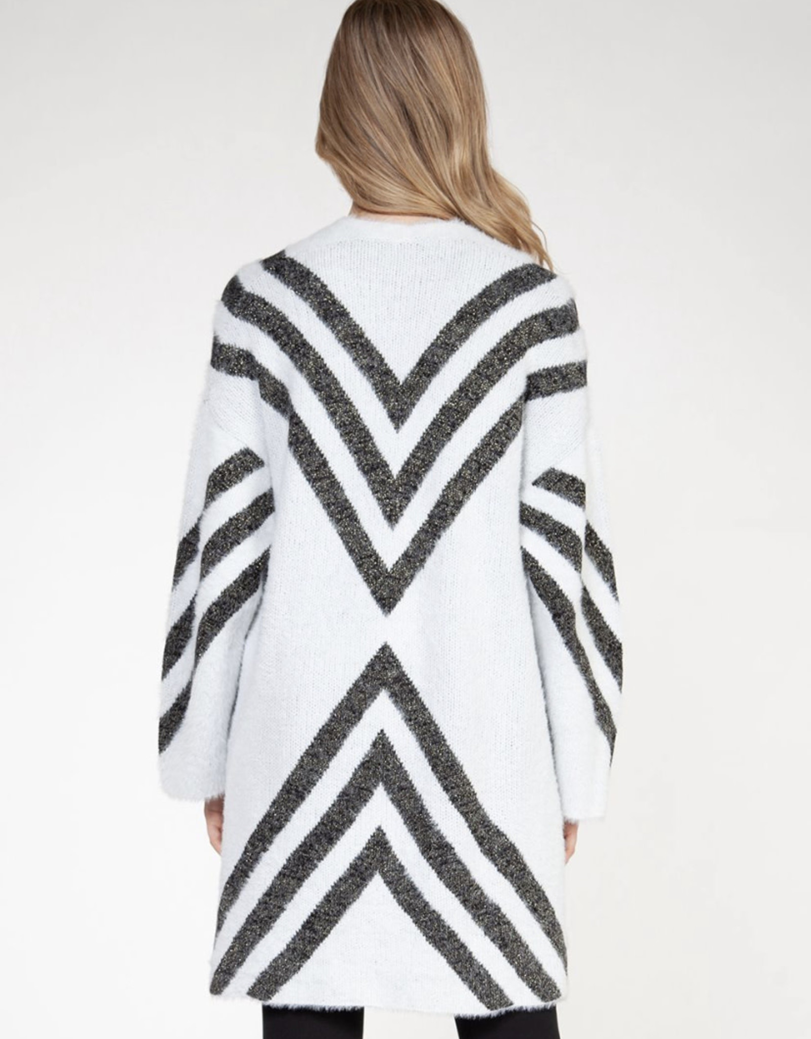 Chevron cardigan with lurex