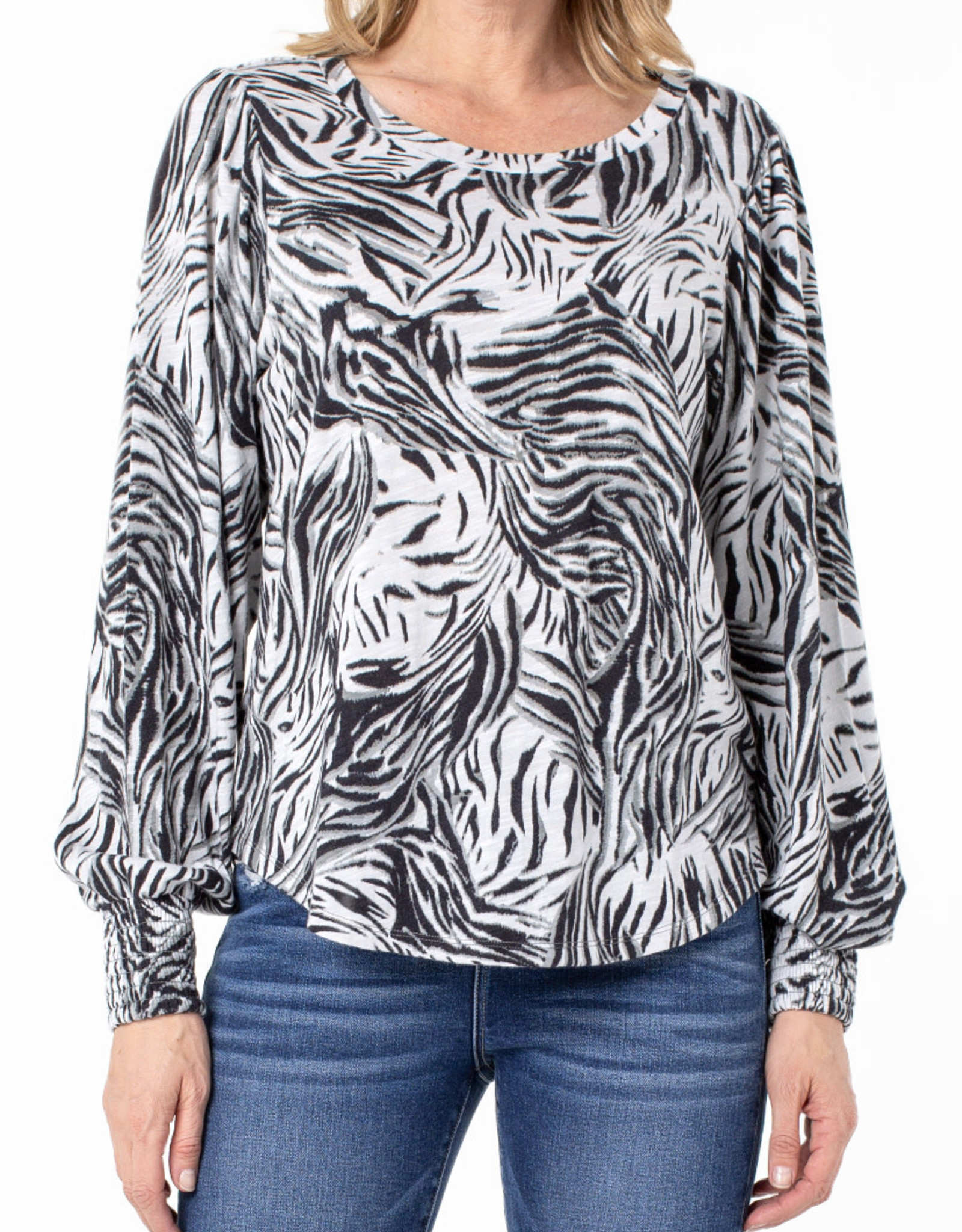 Liverpool Smocked Cuff knit top