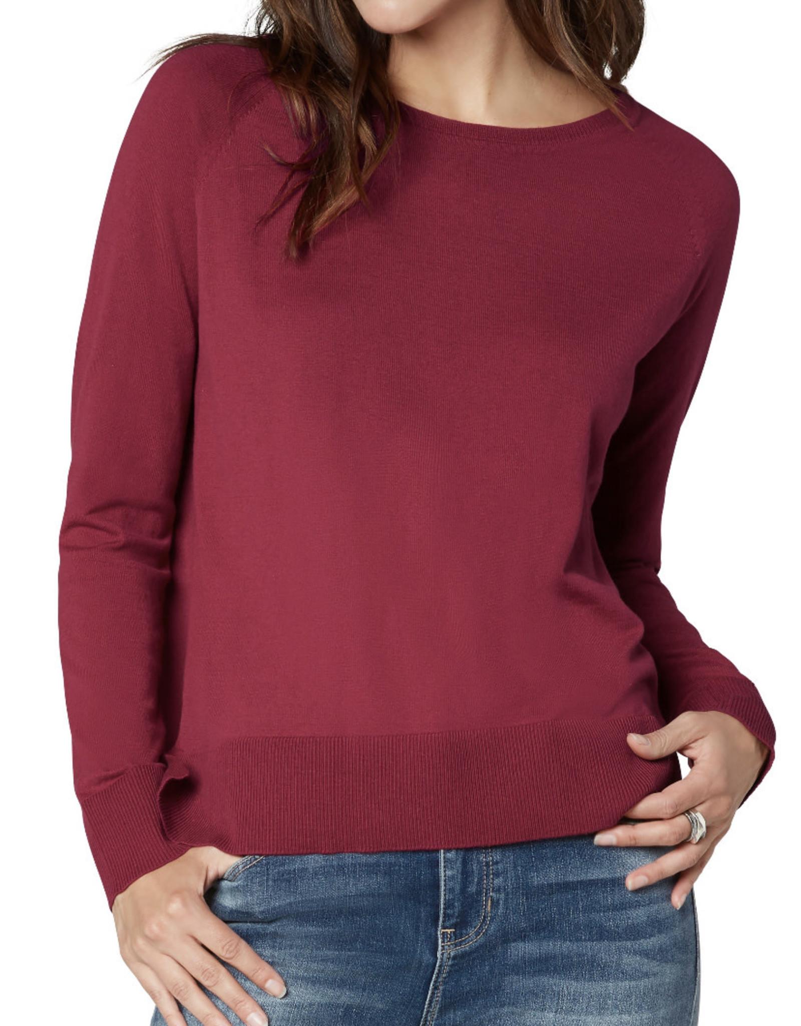 Liverpool Raglan Sweater w/ side slit- raspberry