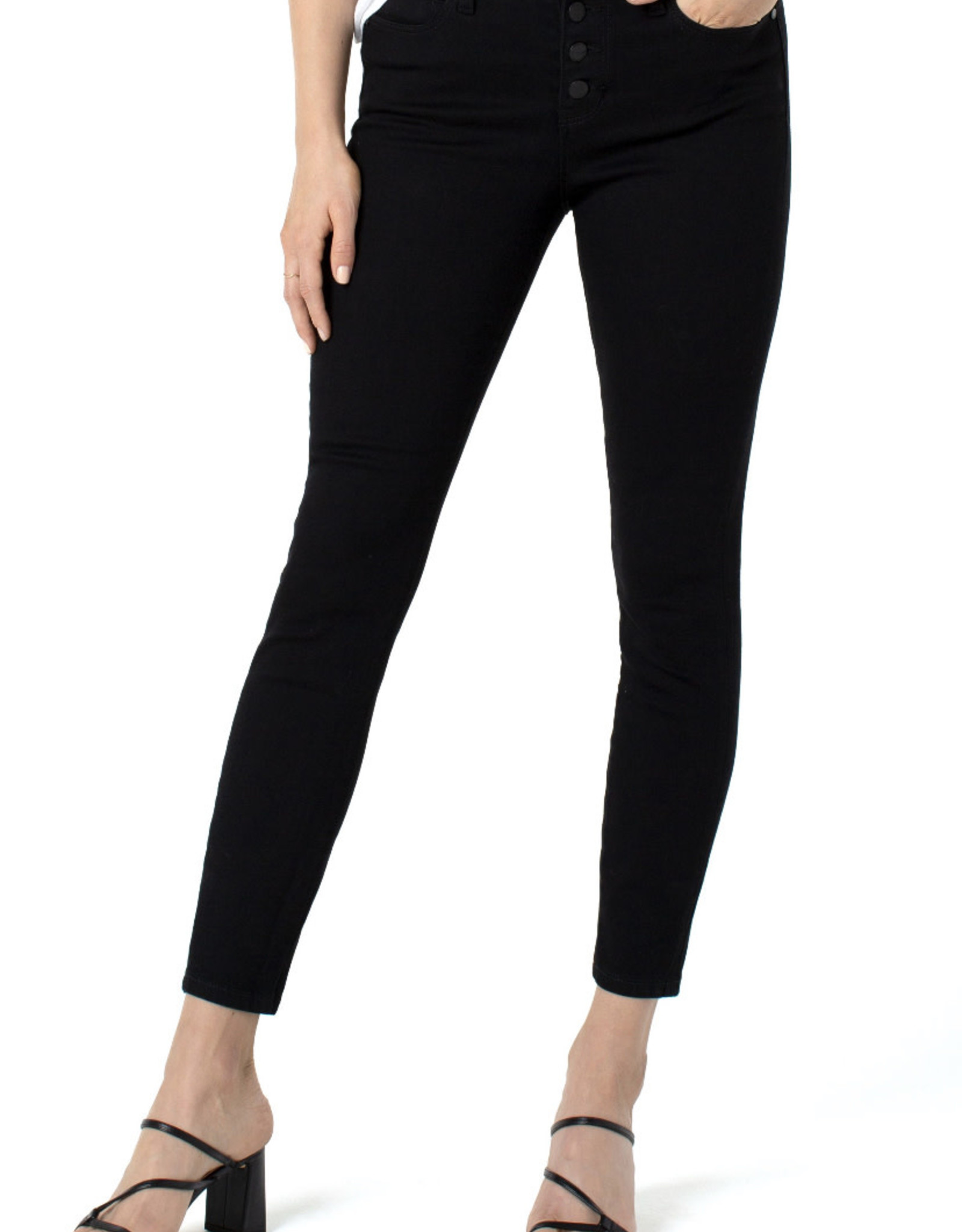 """Liverpool Abby ankle skinny button 28"""" black"""