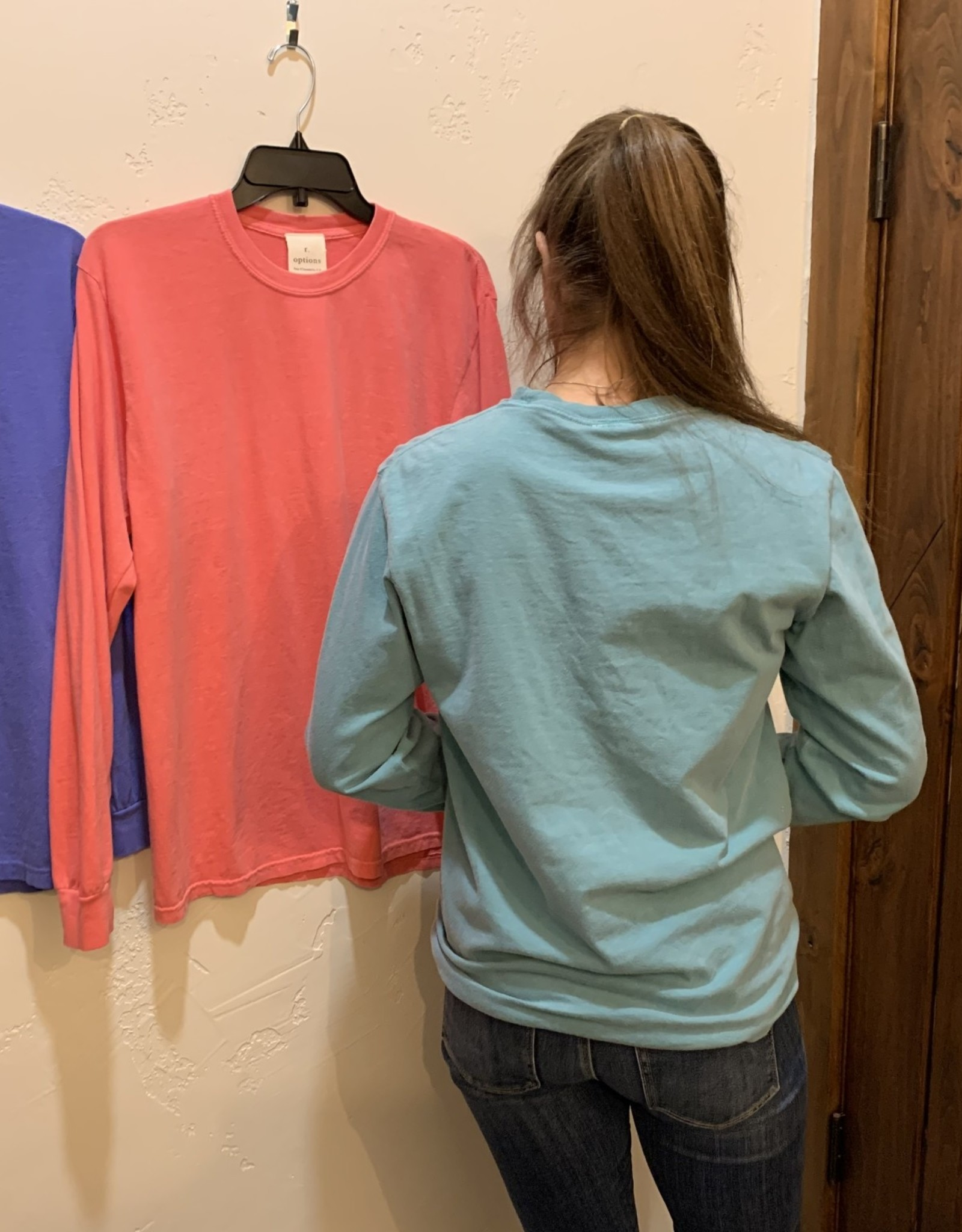 R. Options L/S pigment tee Teal
