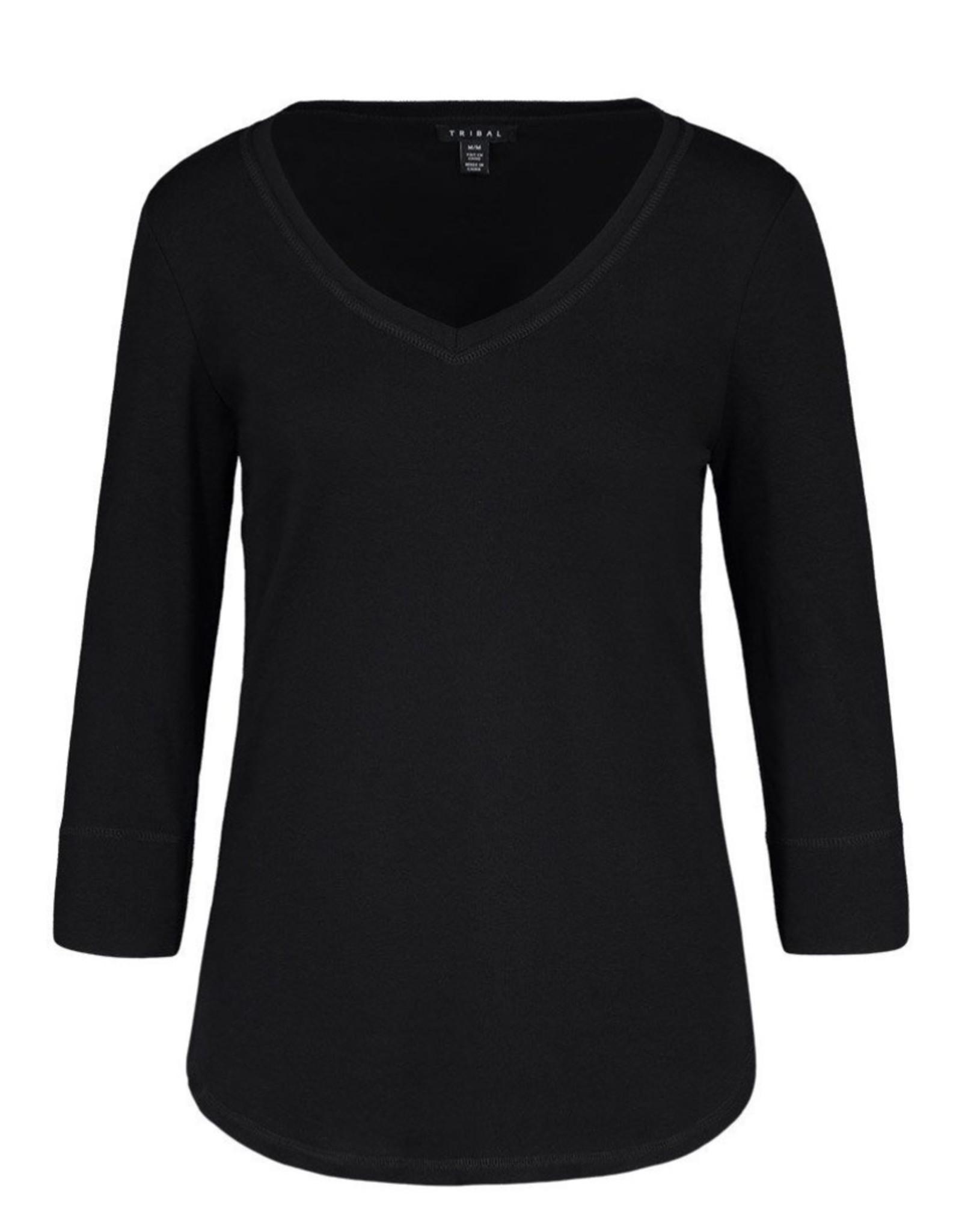 3/4 sleeve v-neck top Black