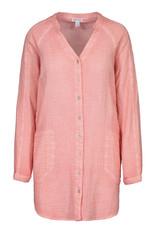 Button front tunic- Peach Tulip