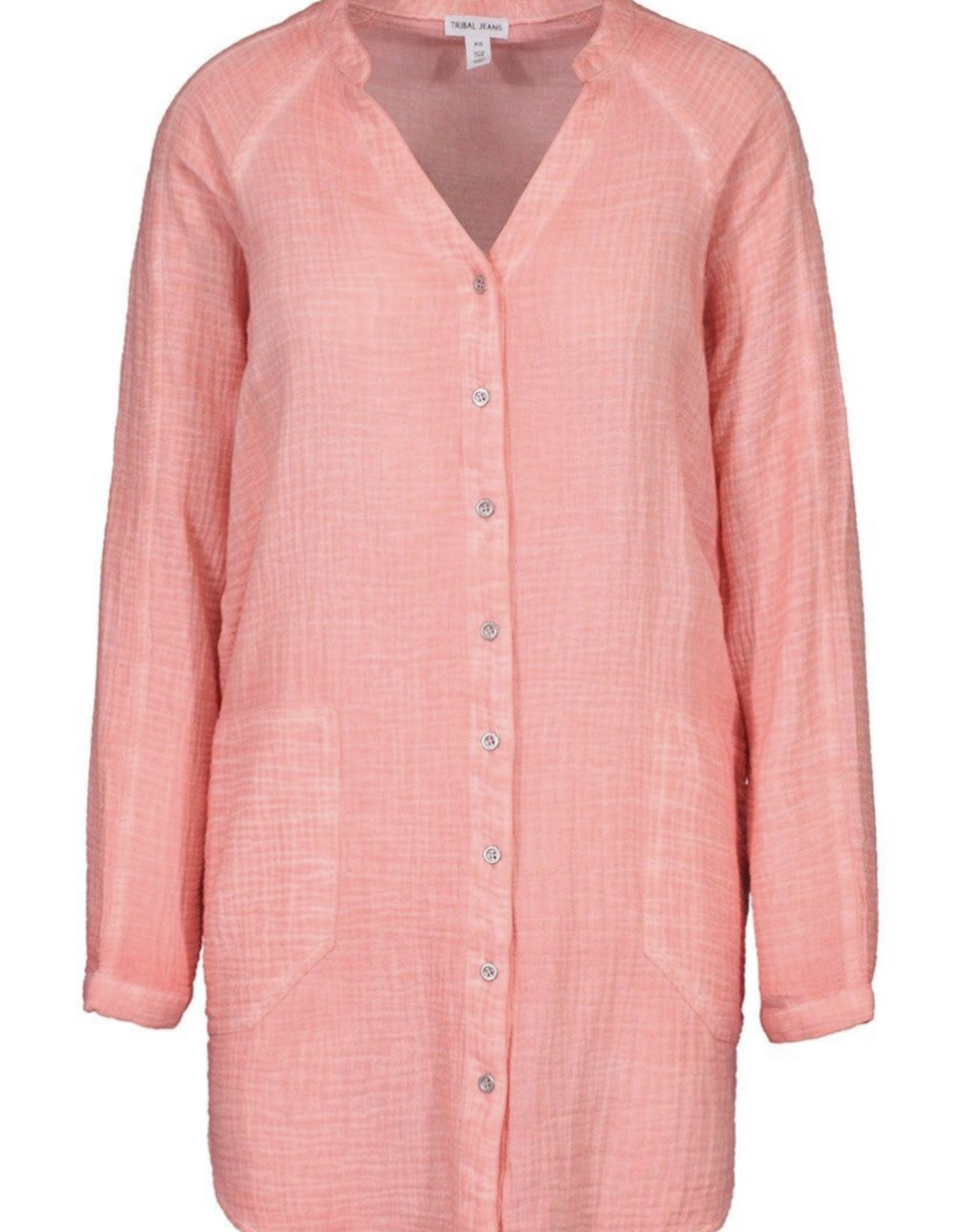 Button front tunic- Peach Tulip