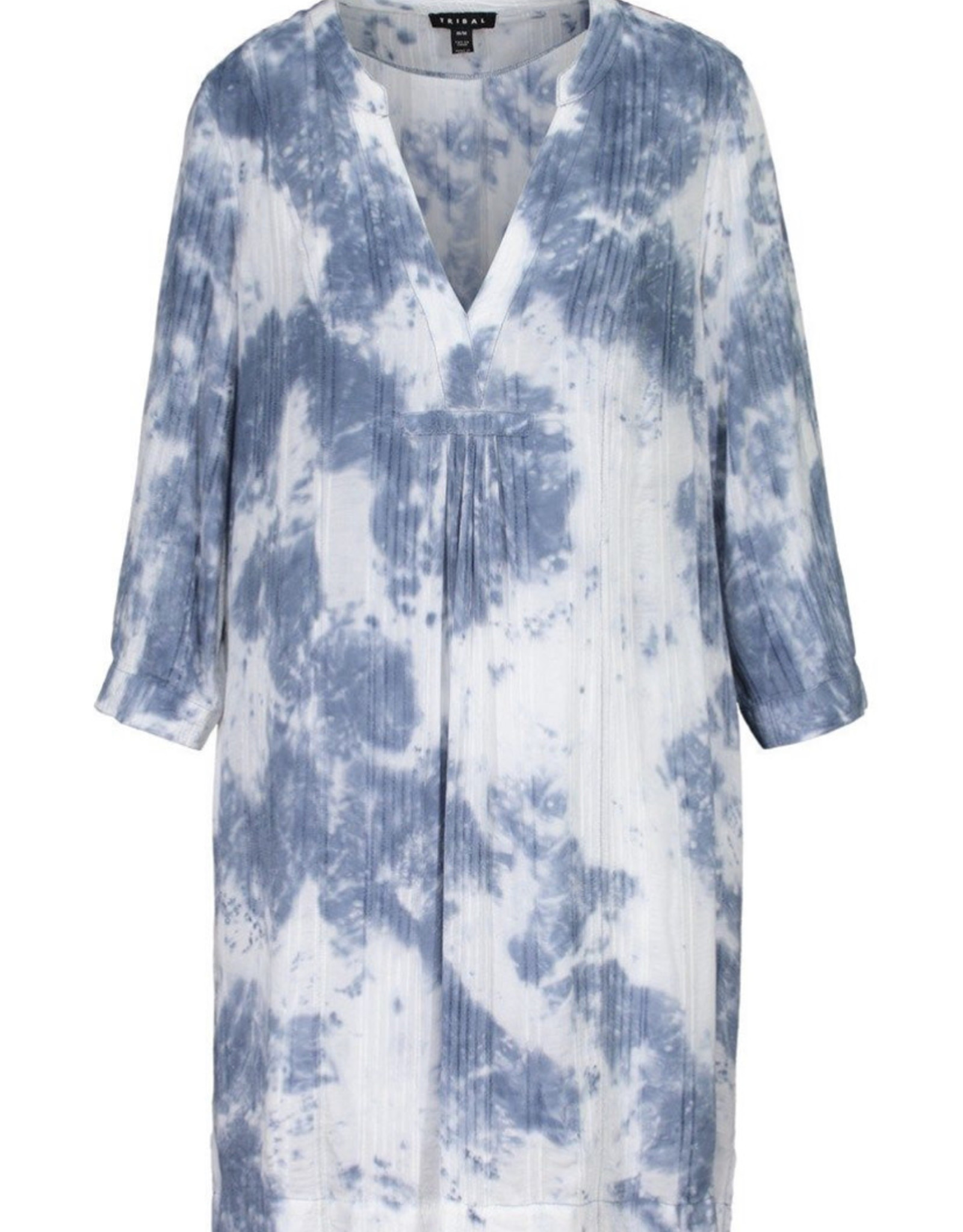 3/4 sleeve notch collar dress