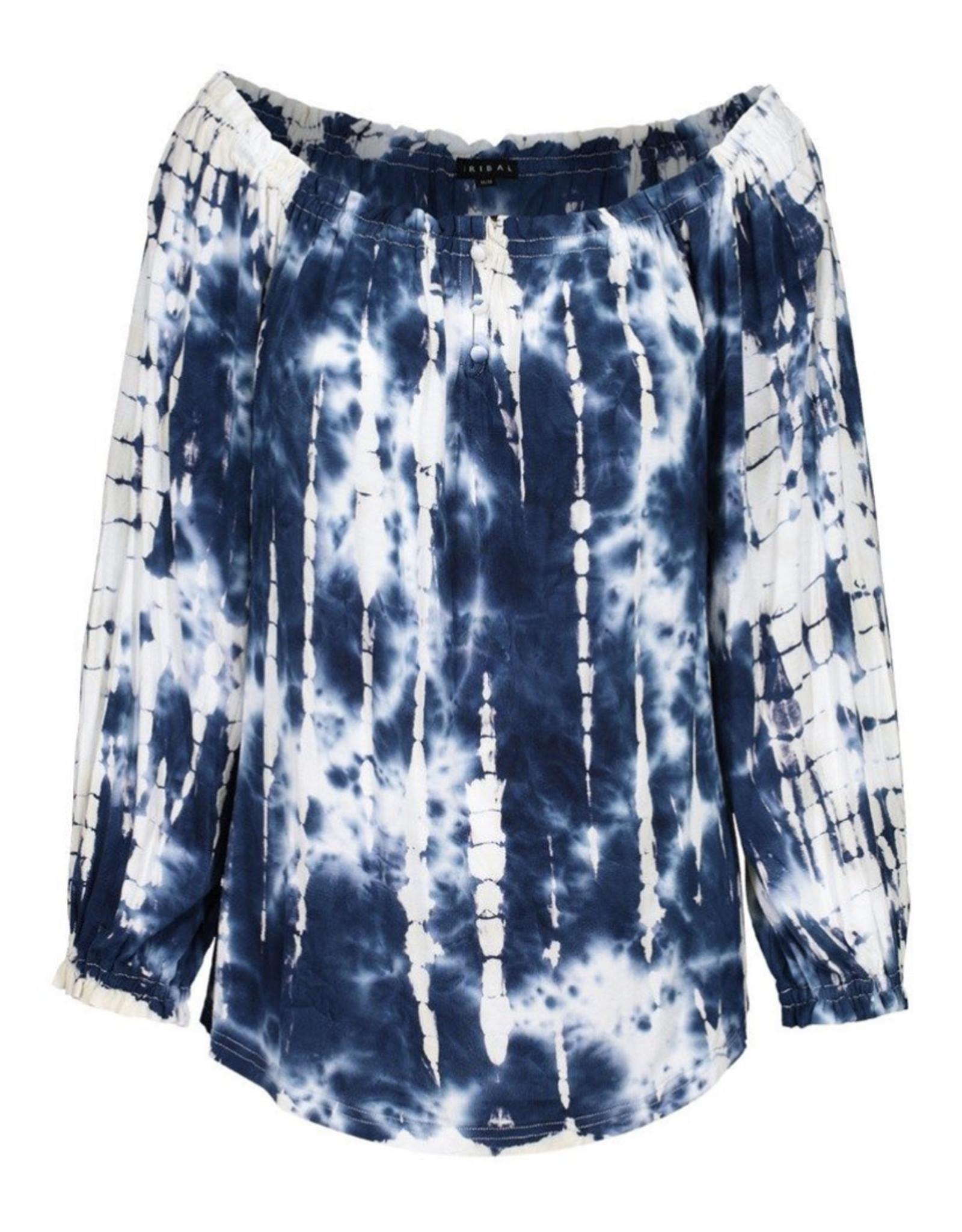 3/4 sleeve peasant top tie dye