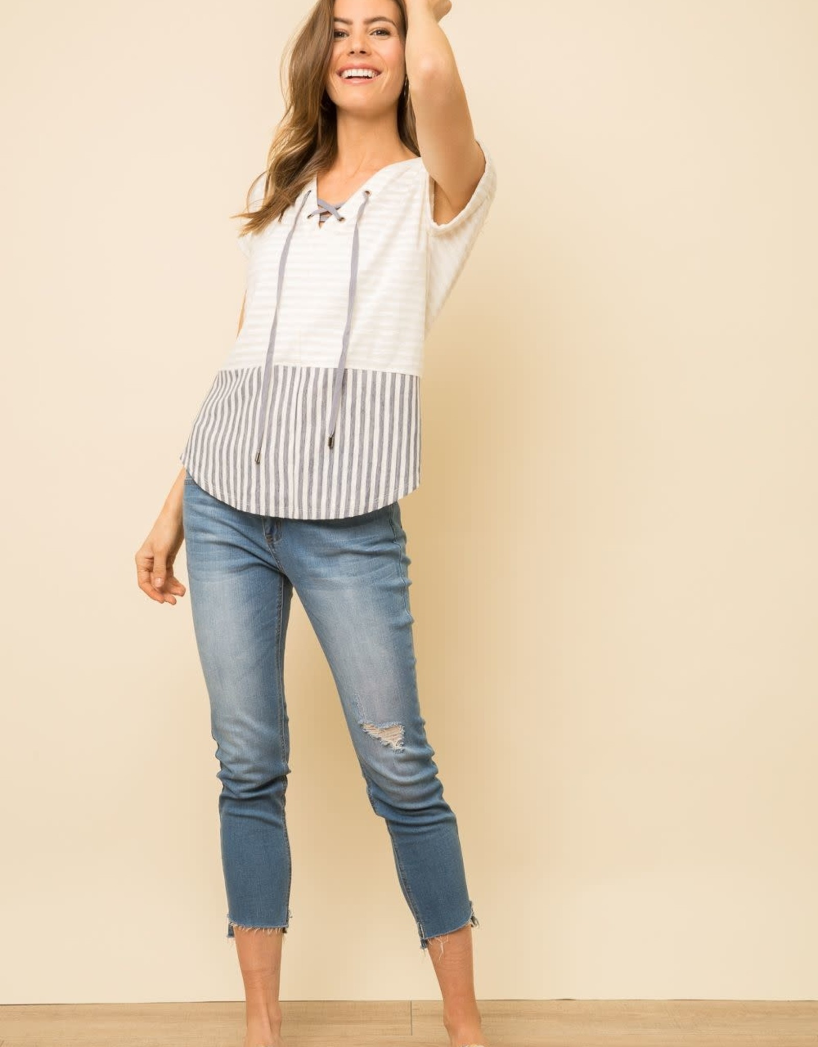 S/s lace-up top