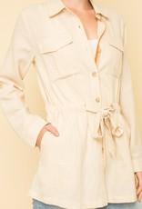Taupe roll-sleeve jacket