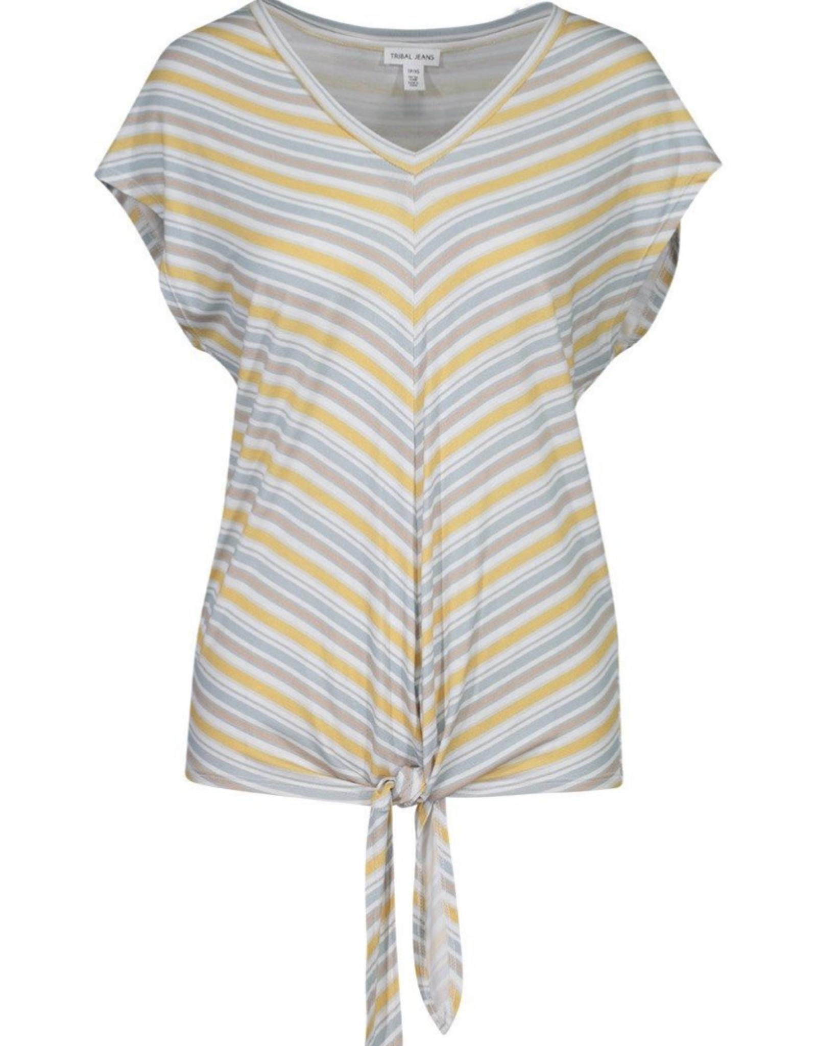 S/s top front tie stripes
