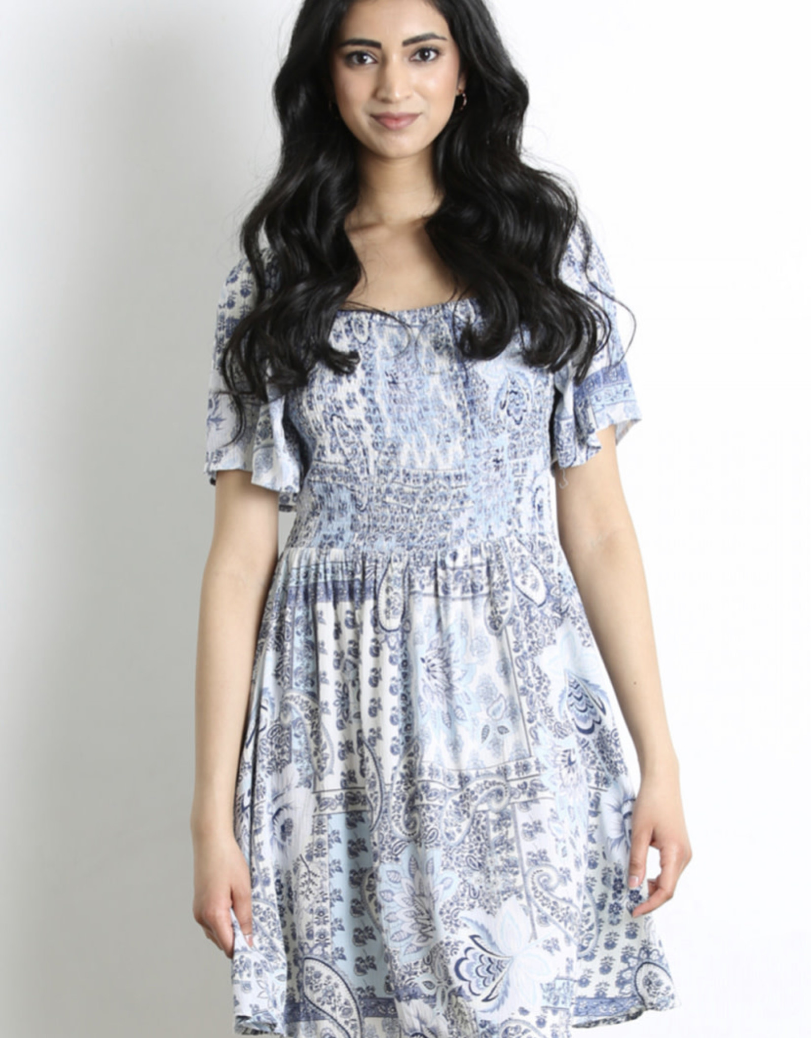 Smocked paisley dress