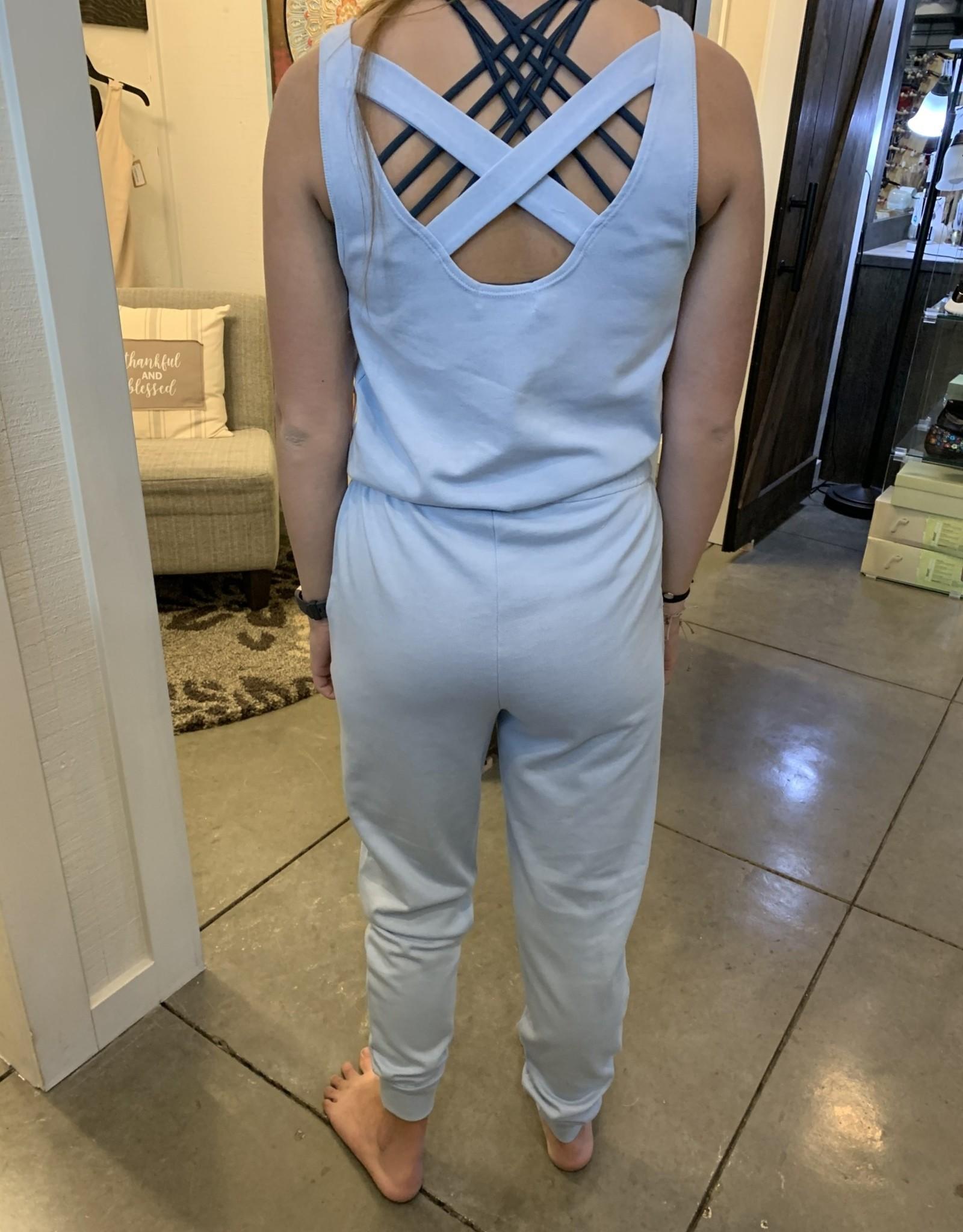 PJ Salvage Sky blue jumpsuit
