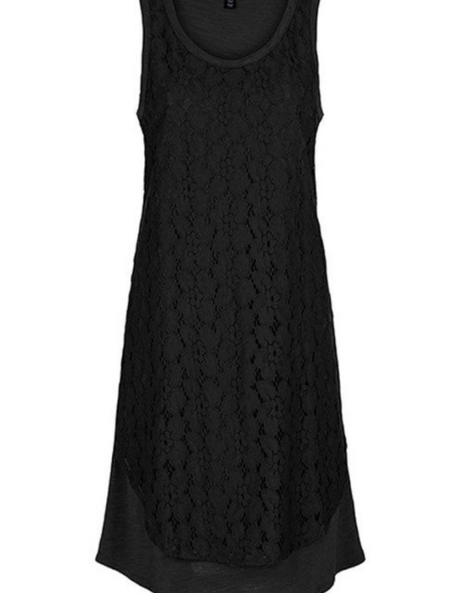Lace overlay dress Black