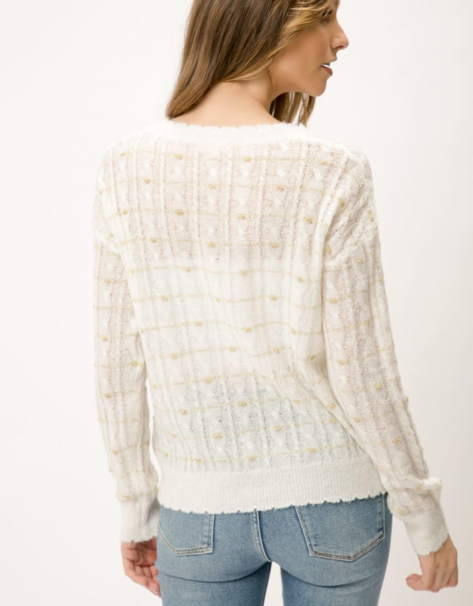 Ivory metallic v-neck sweater