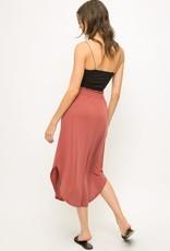 Rust smocked skirt