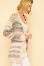 Striped cardigan taupe