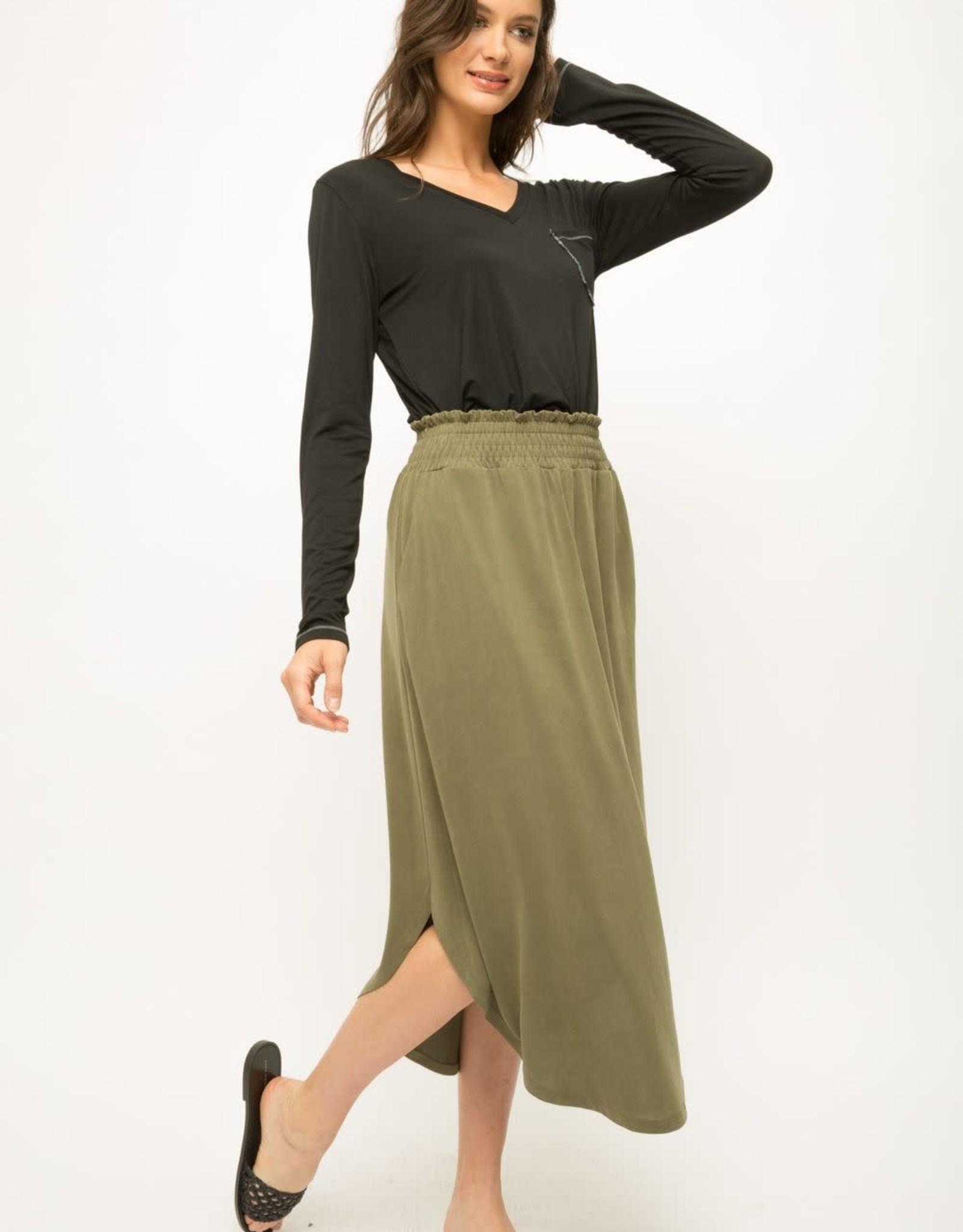 Smocked olive skirt