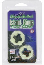 CALEXOTICS - ISLAND RINGS DOUBLE STACKED 2 PACK - GLOW IN THE DARK