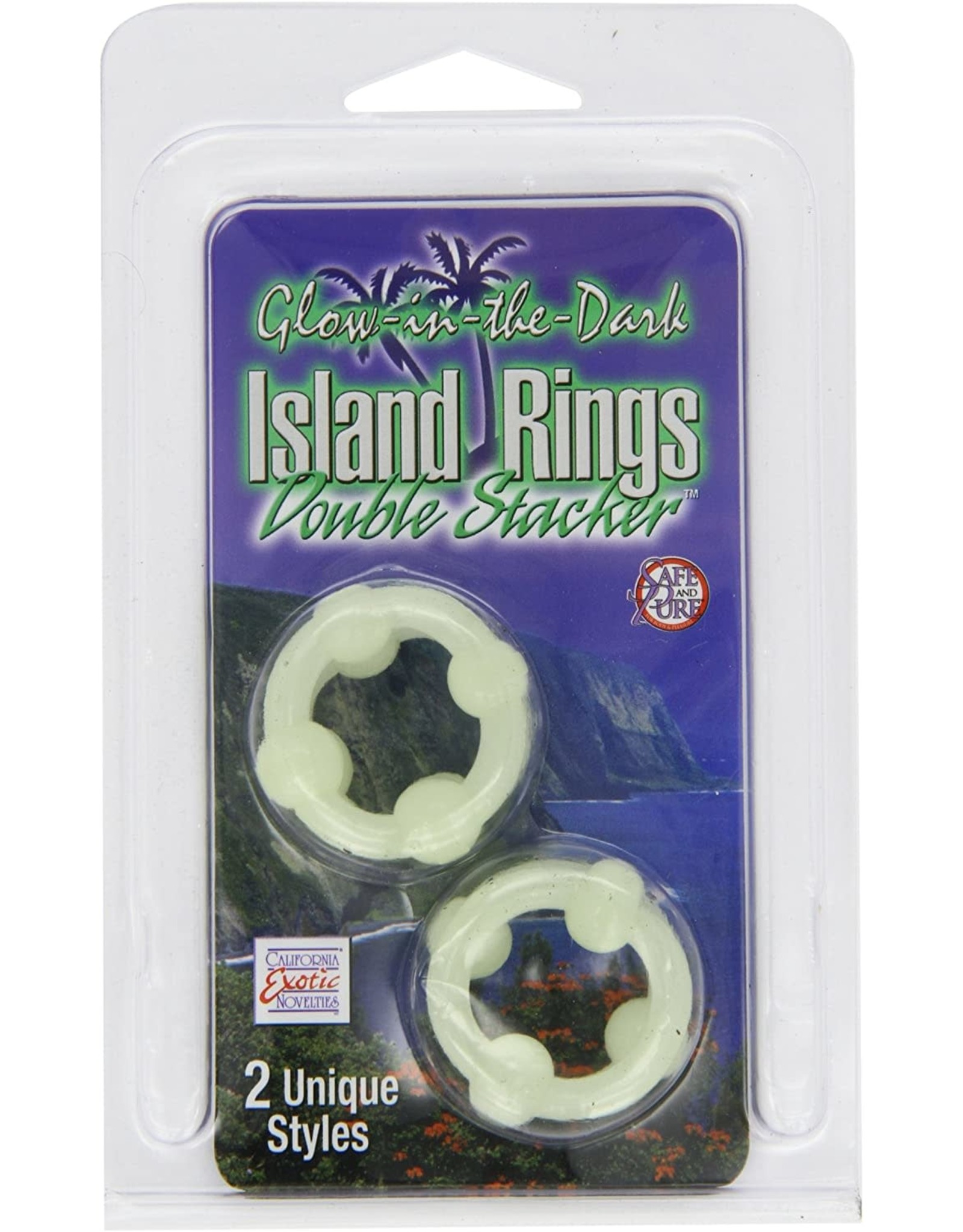 CALEXOTICS CALEXOTICS - ISLAND RINGS DOUBLE STACKED 2 PACK - GLOW IN THE DARK
