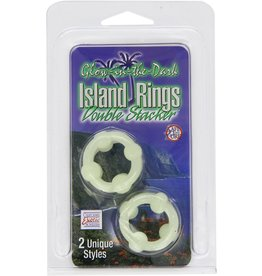 CALEXOTICS ISLAND RINGS DOUBLE STACKED (x2) - GLOW IN THE DARK