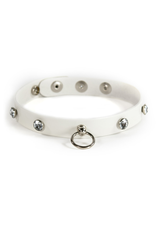EGO DRIVEN - WICKED COLLAR MEDIUM - WHITE AND CLEAR GEMS