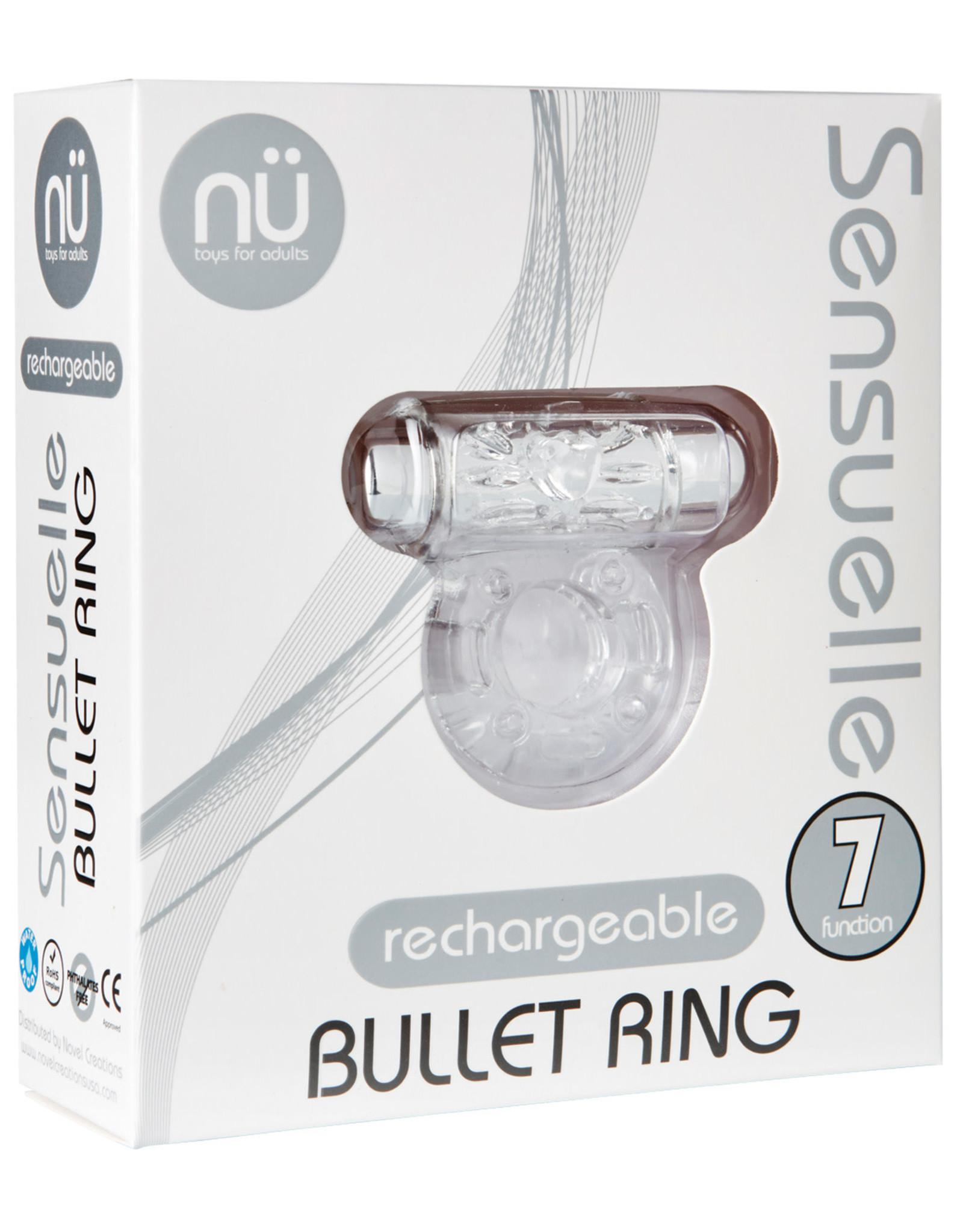 SENSUELLE - RECHARGEABLE BULLET COCK RING - CLEAR