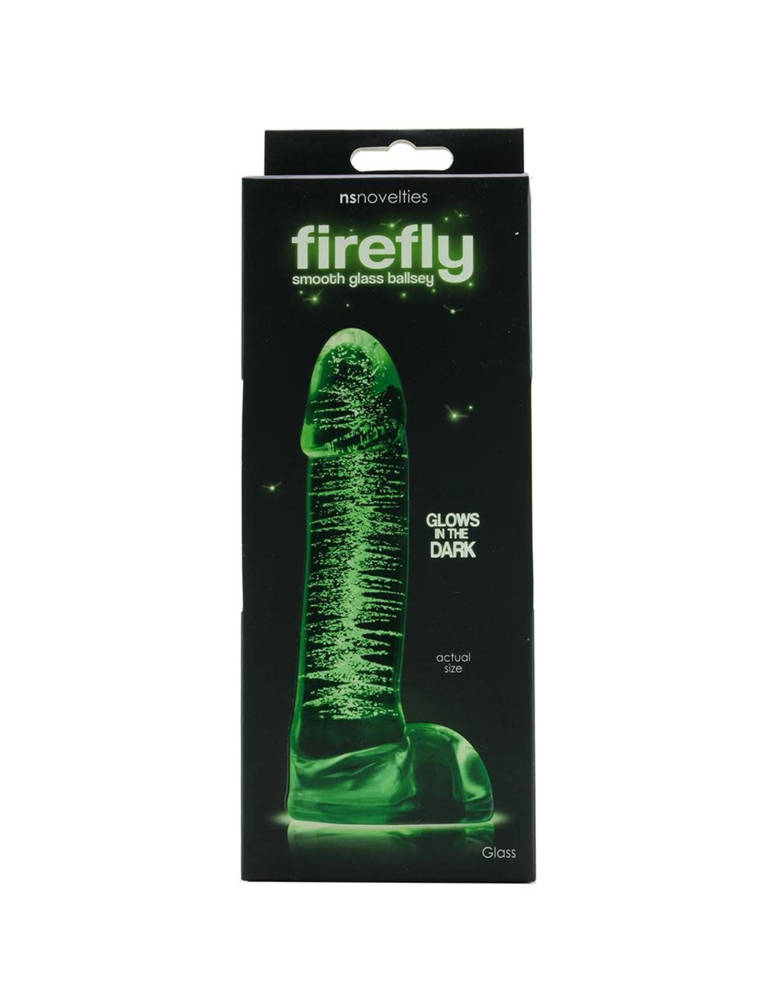 NSNOVELTIES FIREFLY - GLOW IN THE DARK GLASS - BALLSY DILDO