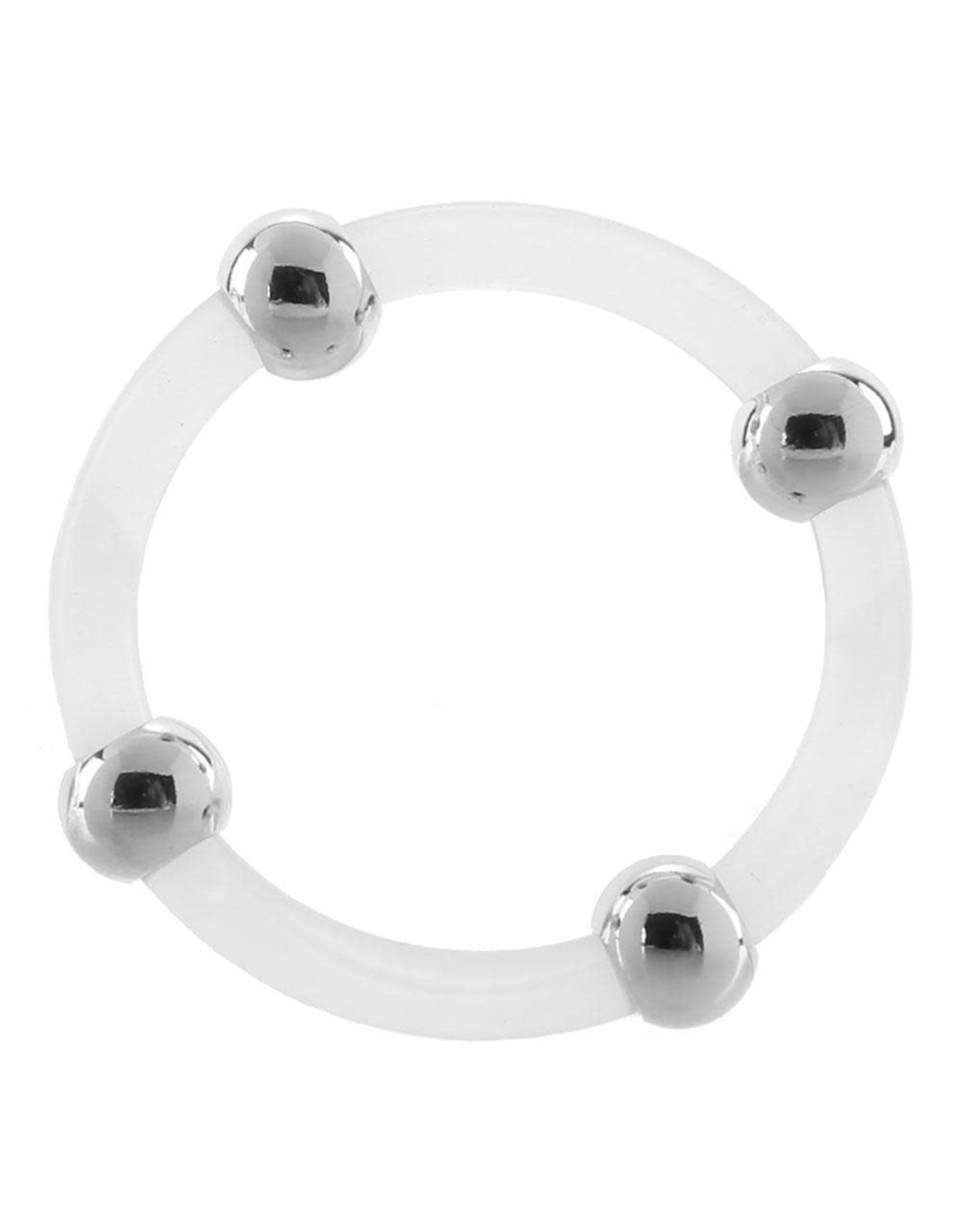 CALEXOTICS - STEEL BEADED SILICONE COCK RING - LARGE