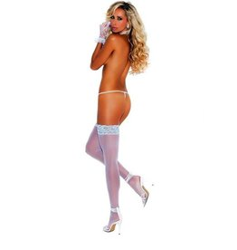 ELEGANT MOMENTS ELEGANT MOMENTS - SKY BLUE LACE TOP WHITE SHEER THIGH HIGHS OSXL