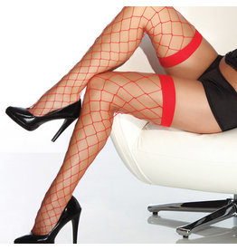 COQUETTE - RED FENCENET THIGH HIGH STOCKINGS OS