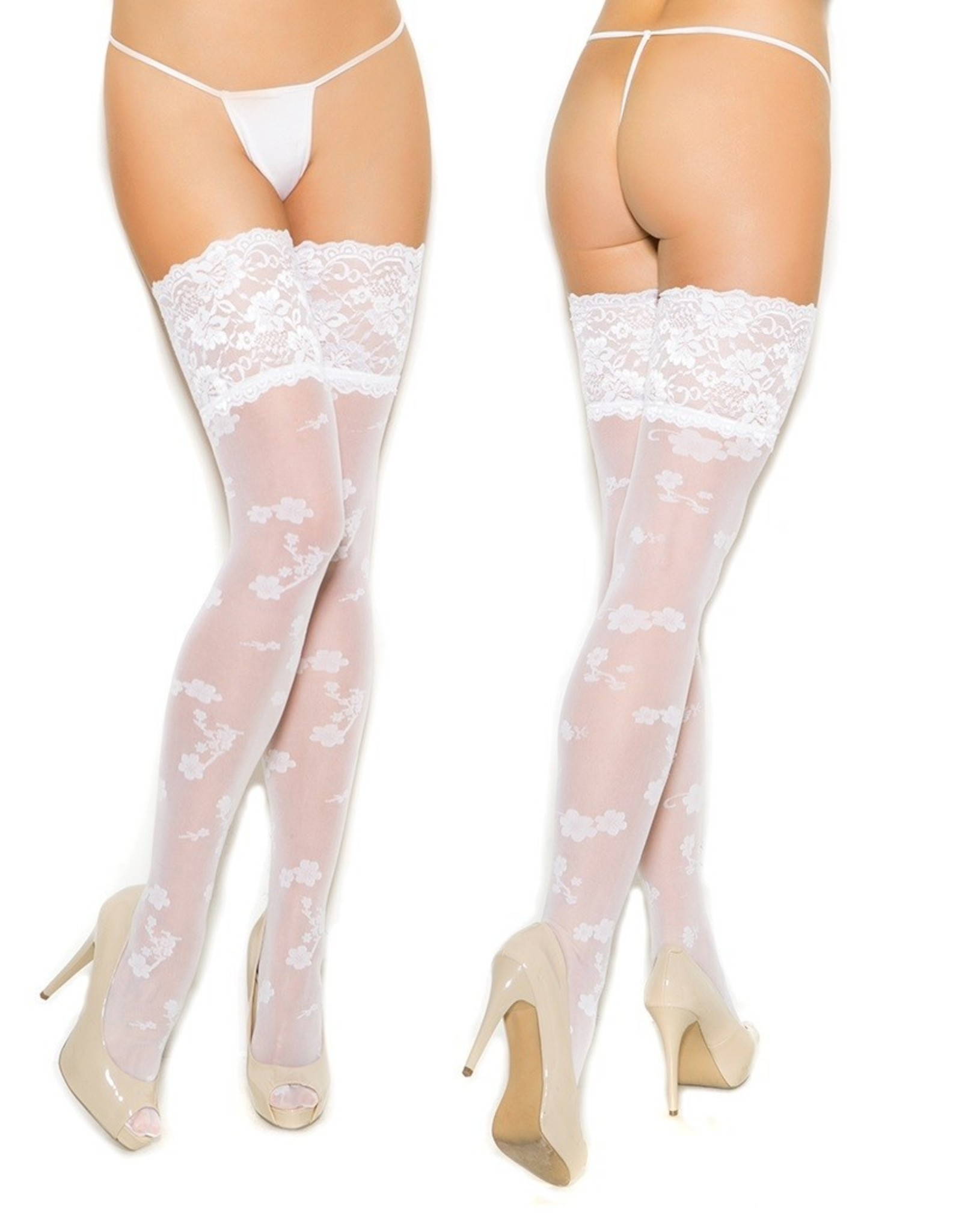 ELEGANT MOMENTS - FLORAL PRINT SHEER THIGH HIGHS - WHITE - ONE SIZE