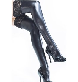 COQUETTE - WET LOOK BLACK THIGH HIGHS WITH SILICONE GRIP TOPS - QUEEN SIZE