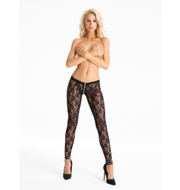 7 HEAVEN 7 HEAVEN - SUPER SEXY LACE STOCKINGS WITH ZIPPER ACROSS THE CROTCH X-LARGE